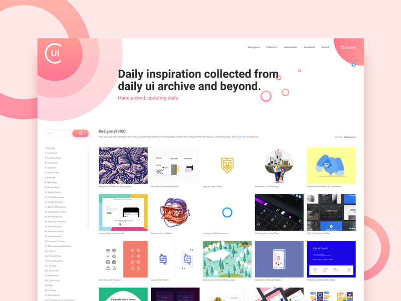 Collect UI website redesign collect ui concept web home redesign ux ui