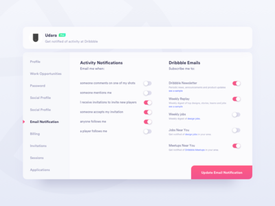 Daily UI Challenge #007 - Settings daily ui challange dribbble 007 card ux ui settings