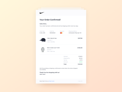 Daily UI Challenge #017 -  Email Receipt nike daily ui challange confirmation summary order products e-commerce ux ui receipt email