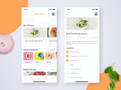 Daily UI Challenge #040 - Recipe ios eat cooking food recipe mobile app daily ui challange ux ui