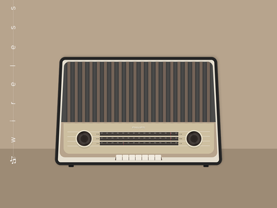 Radio classic wireless air music radio illustration