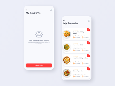 Daily UI Challenge #044 - Favourits empty state favourites food mobile card app ux ui
