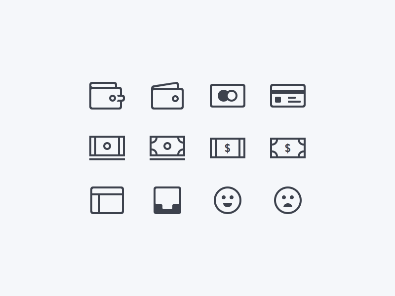 Financial Icons smiley money outline graphic illustration card wallet sketch freebie icon