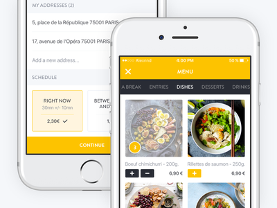 Menu and Delivery Details cart schedule delivery details menu foodtech food screen mobile iphone ios application app