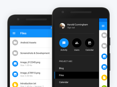 Dark Menu and Files activity project dark menu user list files screen mobile material design android application app