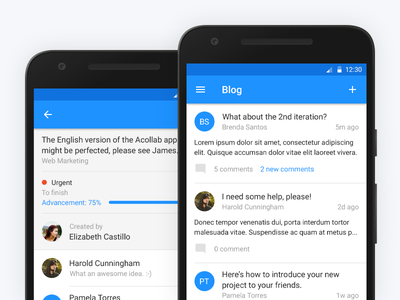 Blog and Task share comment advancement article task blog material design android screen mobile application app