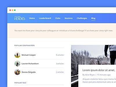 Blog story read share social tag article contributor blog desktop web application app
