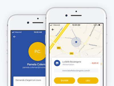 Store and User Profile location map fintech finance user profile store screen mobile iphone ios application app