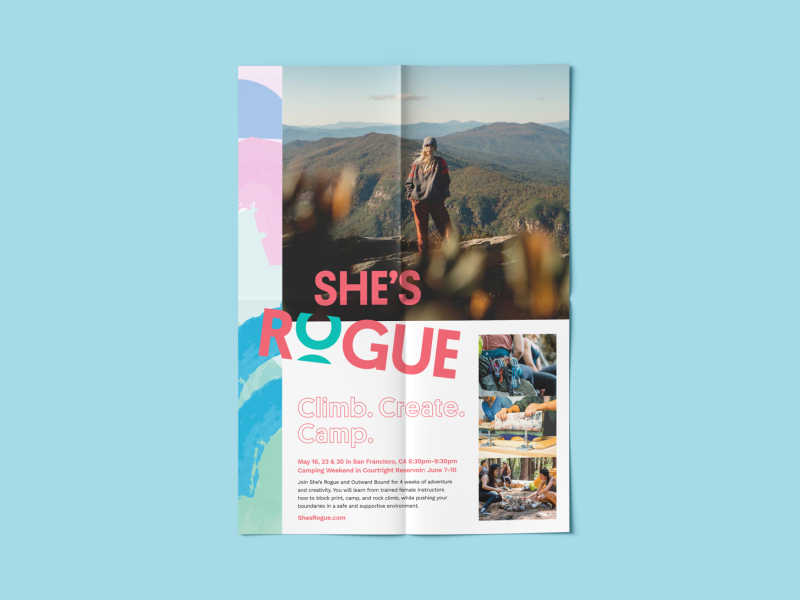 She's Rogue - Branding [3 of 3] social social media outdoors adventure strong female wordmark watercolor layout design poster business card brand system design system logo mark brand identity logo branding and identity branding design branding