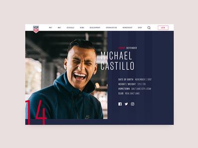 US Soccer Website - Player Profile Header