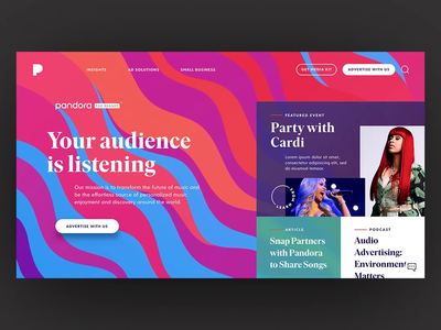 Pandora for Brands - Homepage Scroll