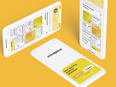 Mindplus Learning App UI Concept app icon typography logo ui branding illustration design