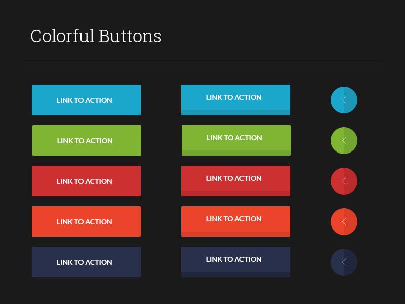 Freebie : PSD - colorful buttons ui kit design flat circle colorful ux free arrow kit ui buttons psd freebie