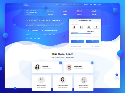 Global Jobсoin web design ux ui timer team ico cryptocurrency counter