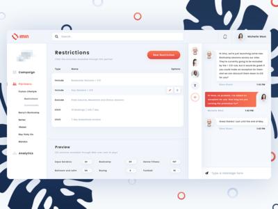 IMIN Dashboard web ux user ui plants orange message design dashboard chat