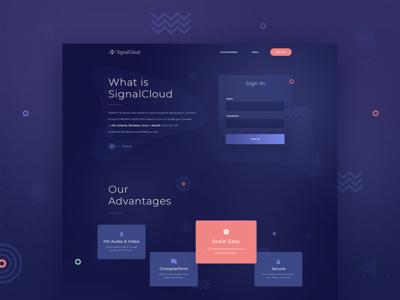 SignalCloud purple landing web design design web ux ui