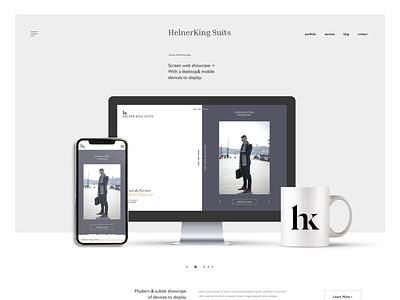 HelierKing Suits - desktop and mobile website whitespace minimalistic design minimalism minimalist minimalistic minimal website design website web design webdesign ux  ui uxui ux ui figma design figmadesign figma ecommerce
