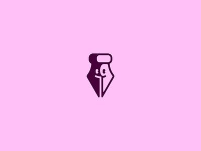 Pen Tool brand smile face avatar glyph illustrator pen tool pen logo branding ui sketch vector illustration icon
