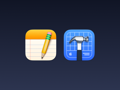 Notes and Xcode pencil hammer macos ios mac icon app big sur skeuomorphism render c4d blender 3d xcode notes