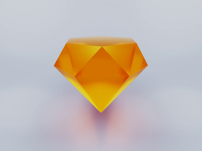 Diamond test motion icon logo animation 3d animation c4d blender render 3d orange diamond sketch