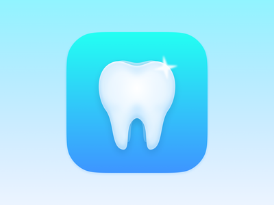 Autooth App Icon teeth toothbrush tooth app icon ios app ios ios14 vector icon iphone logo branding skeuomorphic skeuomorphism realistic gloss blur
