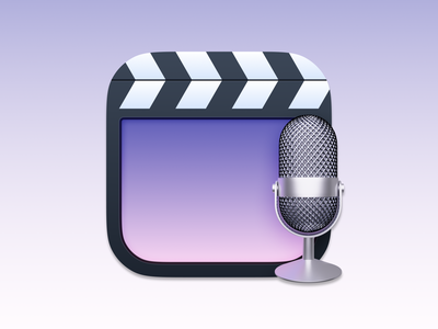 Claquette Icon microphone realistic realism skeuomorphism skeuomorphic big sur macos big sur macos gif edit record video claquette ui vector icon