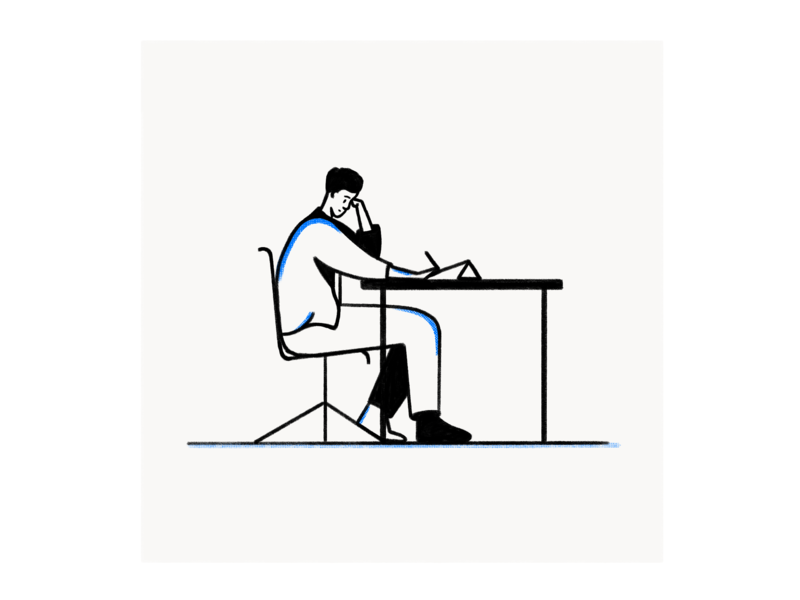 Draw 02 character print line art ipad procreate ui sketch design illustration illustration texture sitting desk draw pose human