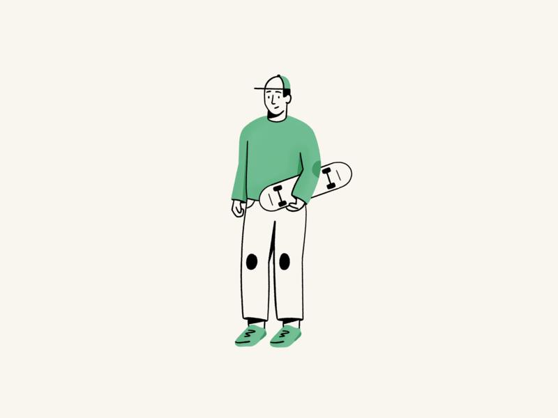 Skater person marketing illo figure human character design illustration spot illustration editorial design process texture sketch vector illustration skateboard