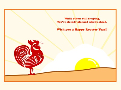 Rooster Holiday Card graphic design illustration red flash rooster animation happy chinese new year holiday card