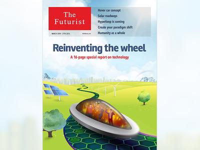 Cover design parody economist illustration paradigm shift humanity hyperloop solar futurist hover car wheel