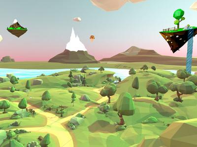 Low-poly landscape island low-poly unity