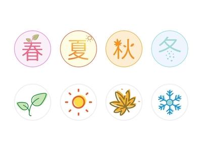 Seasons icons four seasons winter autumn summer spring