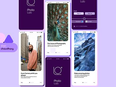 Onboarding and login Ui (Photo lab) -shan splash screen app design onboard login minimal mobile ui branding logo graphic design design 2021 design color figma ux ui