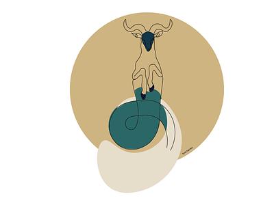 Capricorn lineart zodiac signs zodiaco zodiac capricorn minimal lineart illustrator illustration design colorful