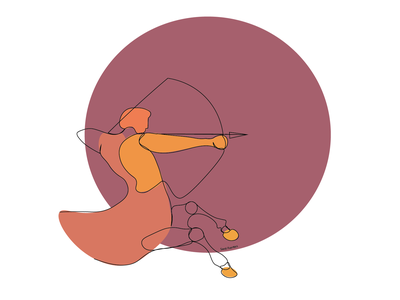 Saggitarius zodiac sign zodiac sagittarius minimal lineart illustrator illustration design colorful