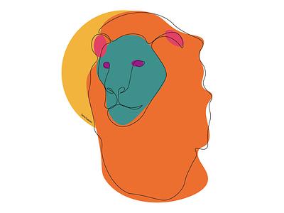 Leo lineart zodiac sign zodiac leo minimal lineart illustrator illustration design colorful