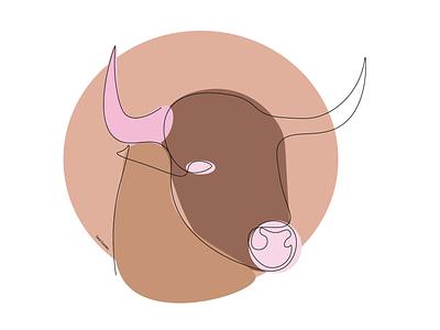 Taurus lineart animal logo animal illustration animals animal taurus minimal lineart illustrator illustration design colorful