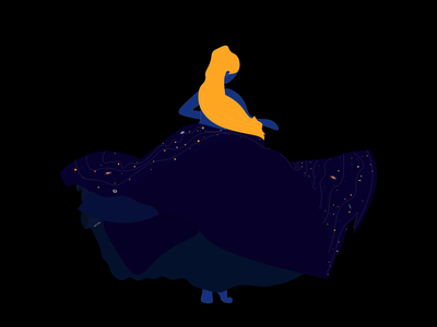 Mother Galaxy girl universe dark stars star galaxy illustrator illustration design