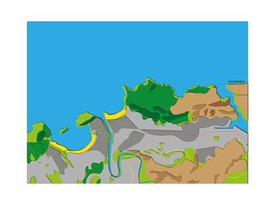 Donosti Topography´s topography map maps illustrator illustration