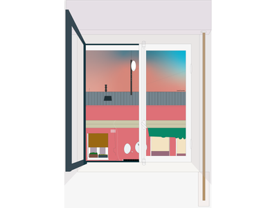 Transparent Story story windows sunset roof cables building architecture view window colorful design illustrator illustration