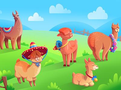 Mexican Llamas concept vector animals picture gradient illustrator illustration flat