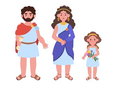 Greeks picture characters people minimal illustrator vector illustration flat