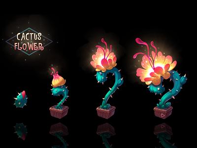 Cactus flower flower procreate vector gradient minimal concept picture illustrator flat illustration