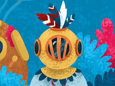 Underwater dweller book vector concept book illustration picture minimal illustrator illustration flat
