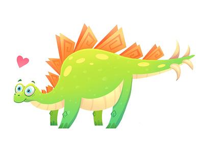 Stegosaurus picture book illustrator book illustration gradient concept vector minimal flat illustration