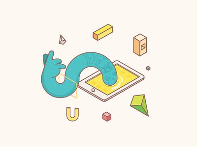 Hand Pad vector geometric hand ipad illustration