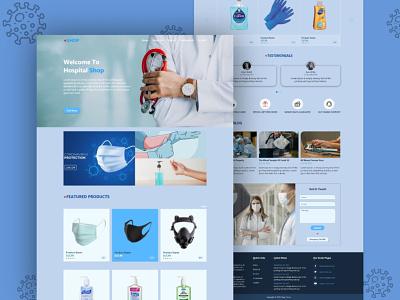 Medical Hospital Ecommerce Shop Landing Page Template Design