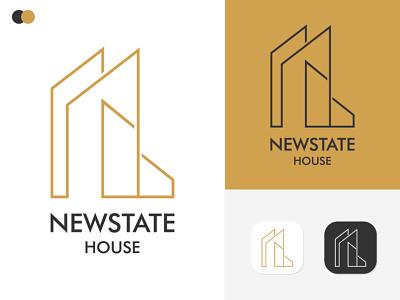 New state & Real Estate Logo Design logos free logo template central housing logo icon logo template 3d uxdesign customizable website logotemplate realstate real branding logo