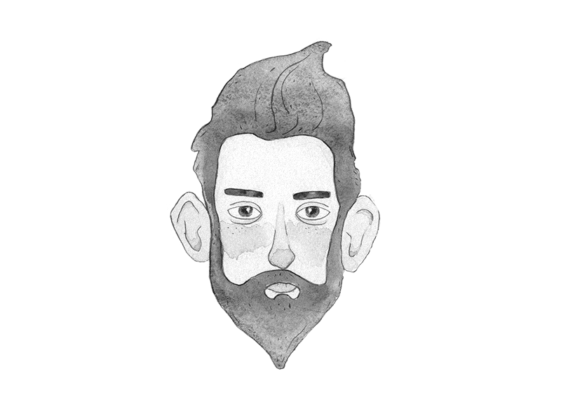 Hipster face bw