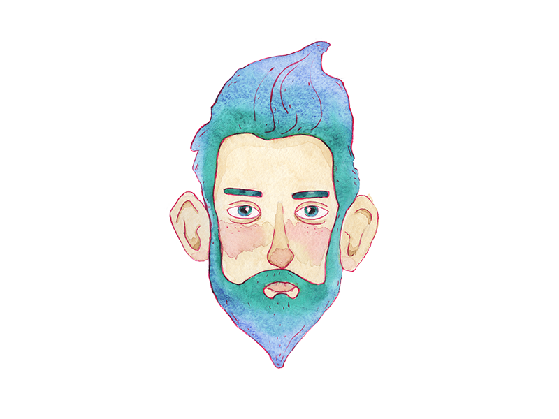 Hipsters beard sticker hipster hair beard ink watercolour illustration man avatar face